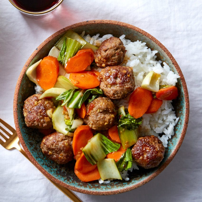 Orange-Glazed Meatballs with Vegetables & Brown Rice