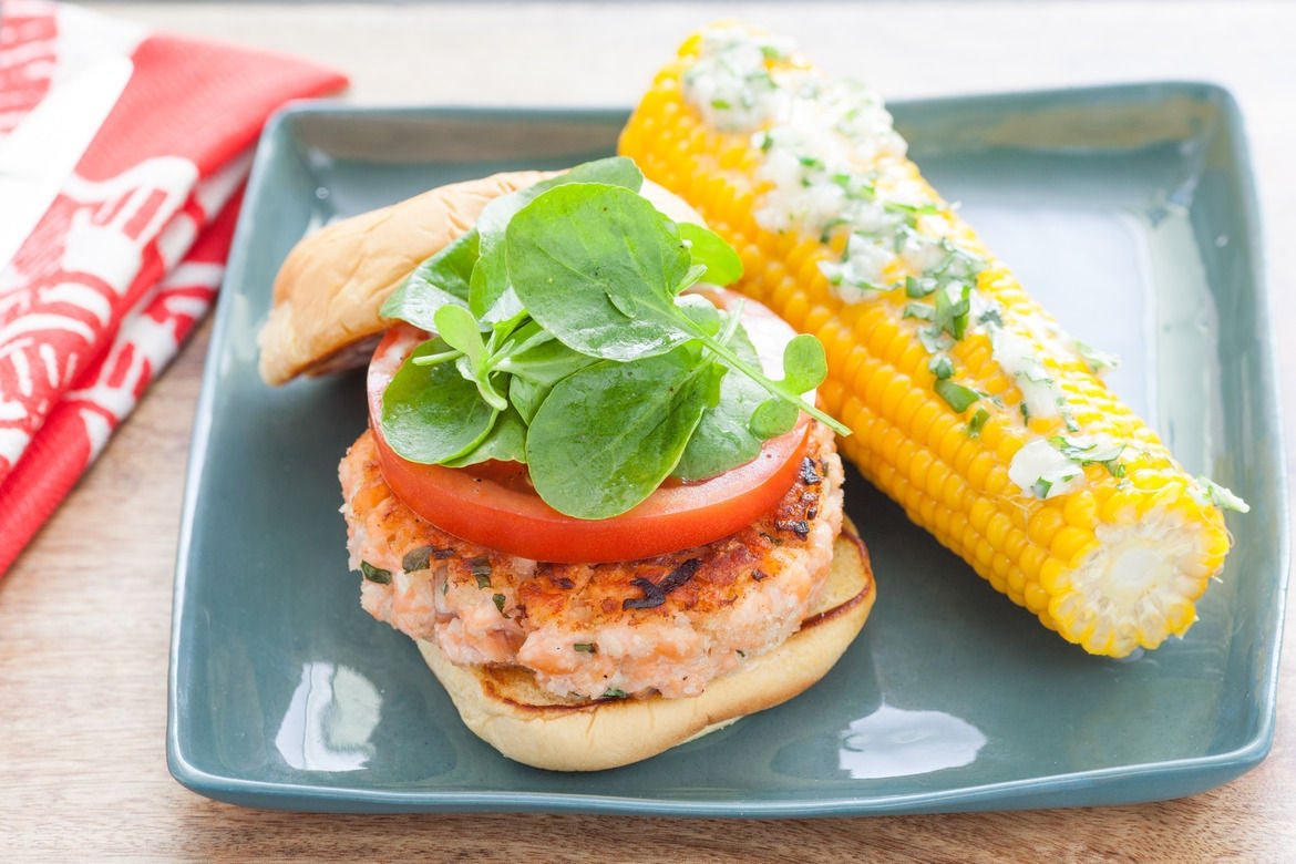 Recipe: Salmon Burgers & Corn on the Cob with Basil Butter ...