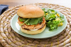 Salmon Burgers & Aioli with Corn, Arugula & Fresh Oregano