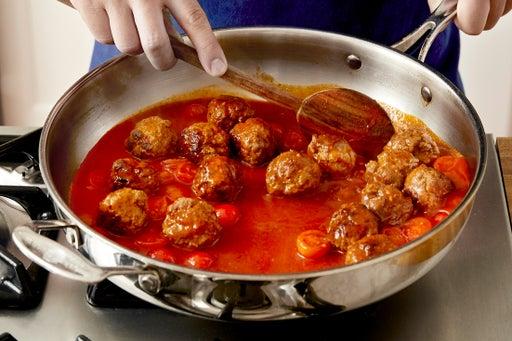 Make the sauce & finish the meatballs: