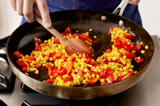 Cook the corn & pepper: