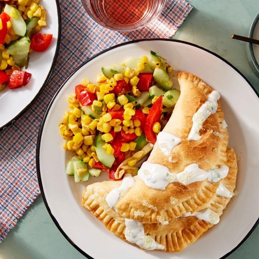 Summer Squash & Monterey Jack Empanadas with Corn & Pepper Salad