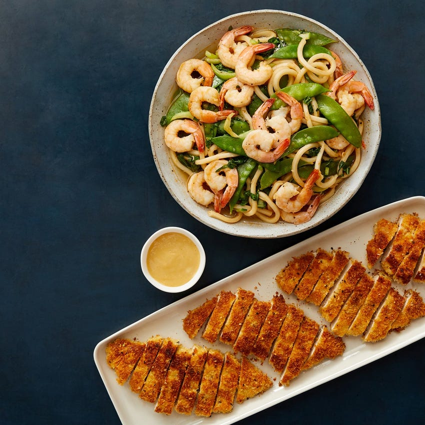Crispy Chicken Katsu & Soy Mayo with Shrimp & Vegetable Udon