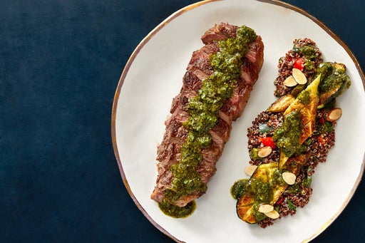 Seared NY Strip Steaks & Chimichurri with Roasted Zucchini & Quinoa Salad