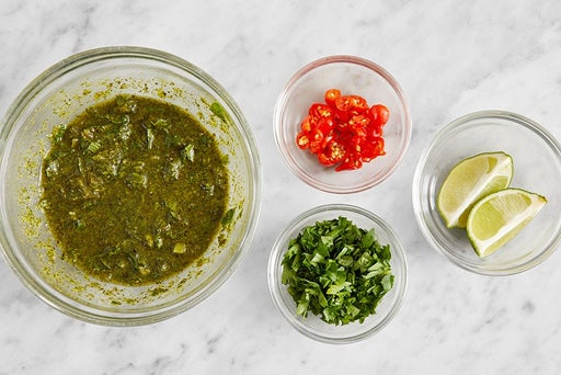 Prepare the ingredients & make the chimichurri: