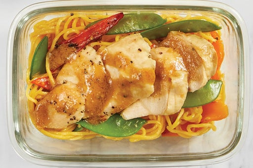 Finish and Serve the Baked Chicken & Veggie Lo Mein: