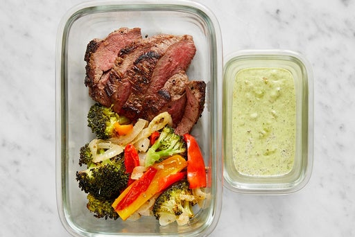 Assemble & Store the Seared Steak & Vegetables: