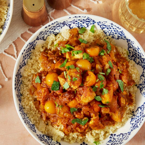 Chicken Tagine with Cherry Tomatoes, Dates, & Couscous
