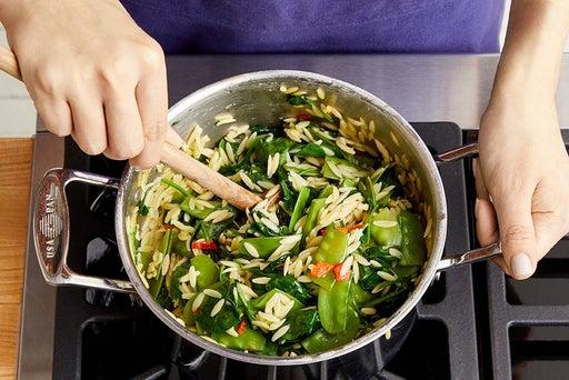 Make the vegetable orzo: