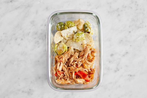 Assemble & Store the Shredded BBQ Chicken: