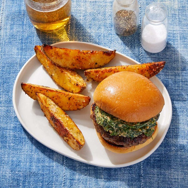 Creamy Spinach Beef Burgers with Roasted Potato Wedges