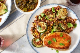 Spicy Green Chile Pork Chops with Summer Squash, Corn, & Quinoa