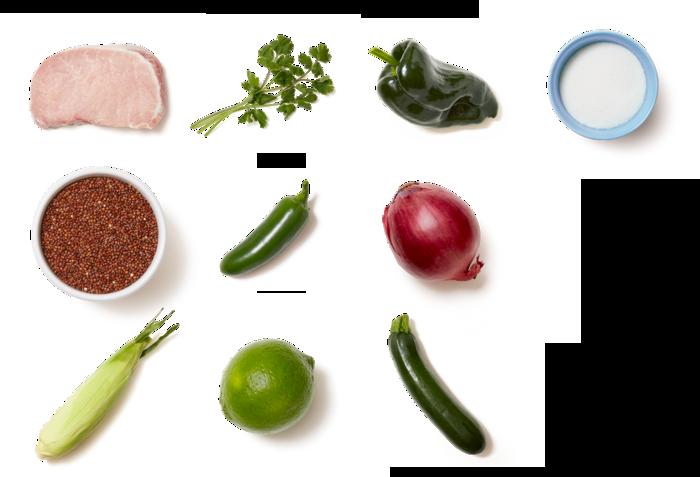 Spicy Green Chile Pork Chops with Summer Squash, Corn, & Quinoa