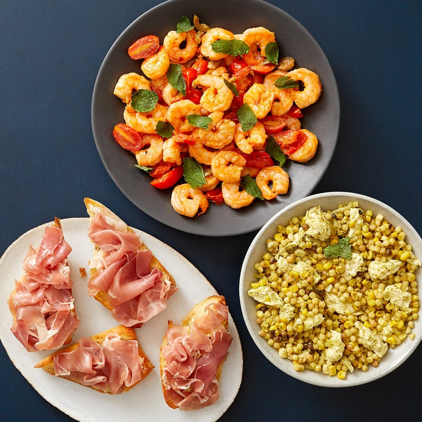 Calabrian Shrimp & Prosciutto Crostini with Pesto Corn & Pasta Salad