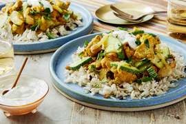 Persian-Style Chicken & Crispy Rice with Zucchini, Currants & Lemon Labneh