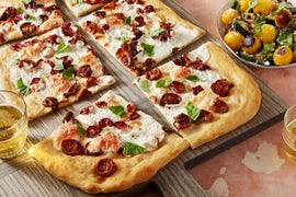 Fairy Tale Eggplant & Mozzarella Pizza with Blistered Cherry Tomatoes & Summer Squash