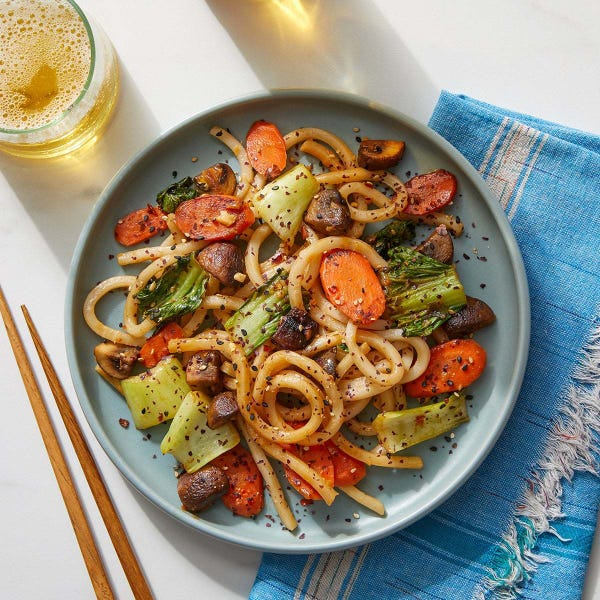 Udon Noodle & Spicy Peanut Stir-Fry with Mushrooms, Carrots & Bok Choy