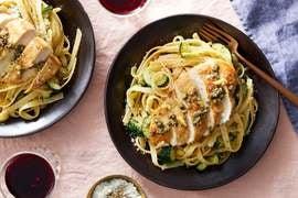 Garlic-Caper Chicken with Fettuccine & Zucchini