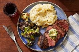 Seared Steaks & Chive Butter with Cheesy Potato-Cauliflower Mash