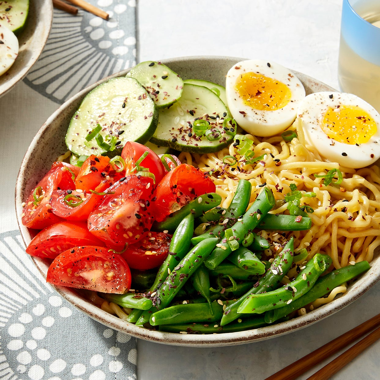 Chilled Hiyashi Chuka Ramen with Heritage Tomatoes, Green Beans, & Soft-Boiled Eggs