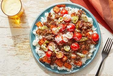Smoky Guajillo Beef Bowls with Fresh Tomato Salsa & Lime Mayo