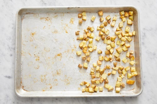 Prepare & start the potatoes: