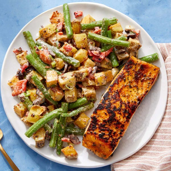 Seared Salmon with Niçoise-Style Potatoes & Green Beans