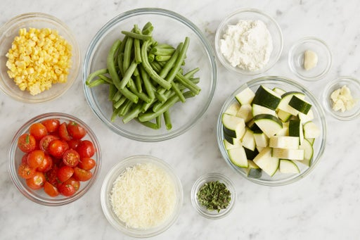 Prepare the ingredients & season the goat cheese: