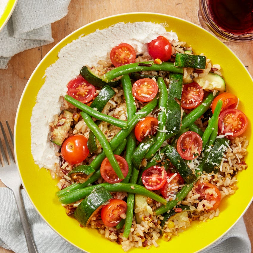 Summer Vegetable & Red Rice Salad with Goat Cheese, Marjoram, & Toasted Breadcrumbs