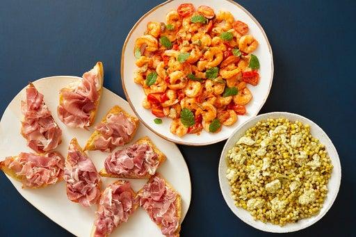 Calabrian Shrimp & Prosciutto Crostini with Pesto Corn & Pasta Salad