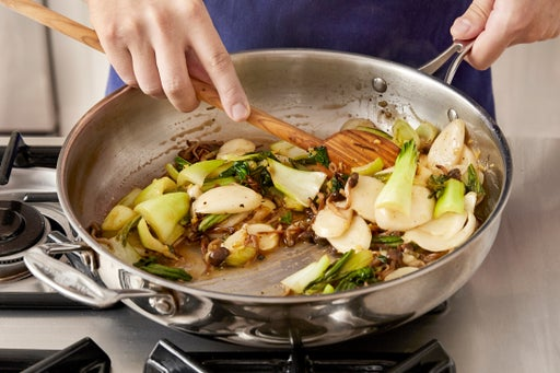 Cook the rice cakes & finish the vegetables: