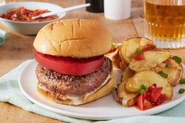 Heirloom Tomato Lamb & Beef Burgers with Loaded Cheesy Potatoes
