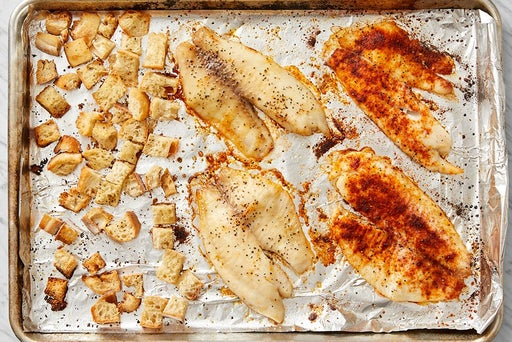 Roast the tilapia & make the croutons