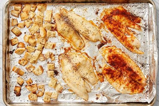 Roast the tilapia & make the croutons