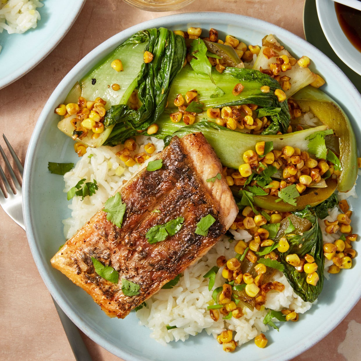 Seared Barramundi & Ginger Rice with Bok Choy & Black Garlic Soy Sauce