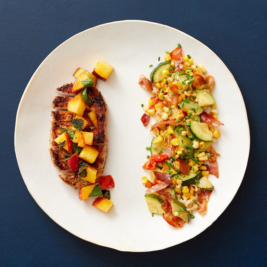 Southern-Style Pork & Marinated Nectarine with Prosciutto & Corn Sauté
