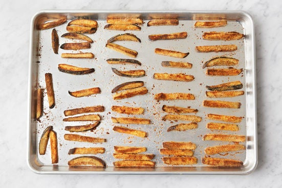 Bake the eggplant fries: