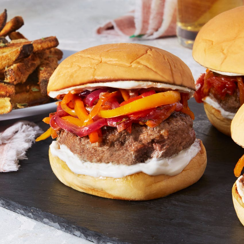 Lamb & Beef Burgers with Sweet Peppers & Baked Eggplant Fries