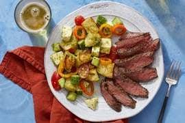 Italian Steaks & Panzanella with Mozzarella, Tomatoes & Pesto