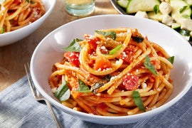 Bucatini Pasta & Heritage Globe Tomato Sauce with Marinated Squash & Fresh Mozzarella