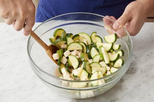 Marinate the squash & mozzarella: