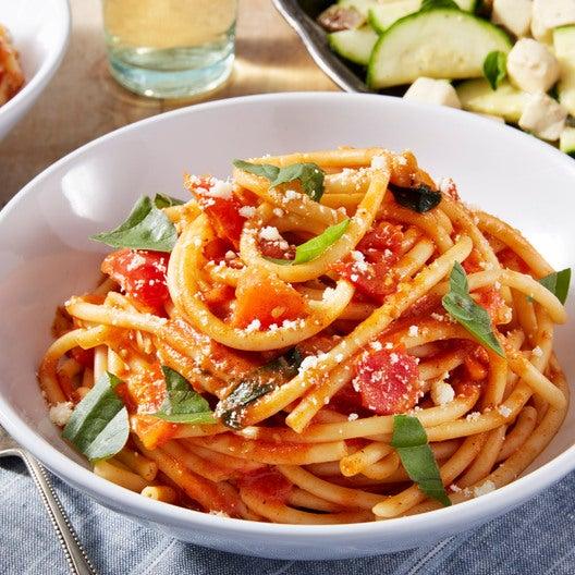 Bucatini Pasta & Heritage Globe Tomato Sauce with Marinated Squash & Fresh Mozzarella