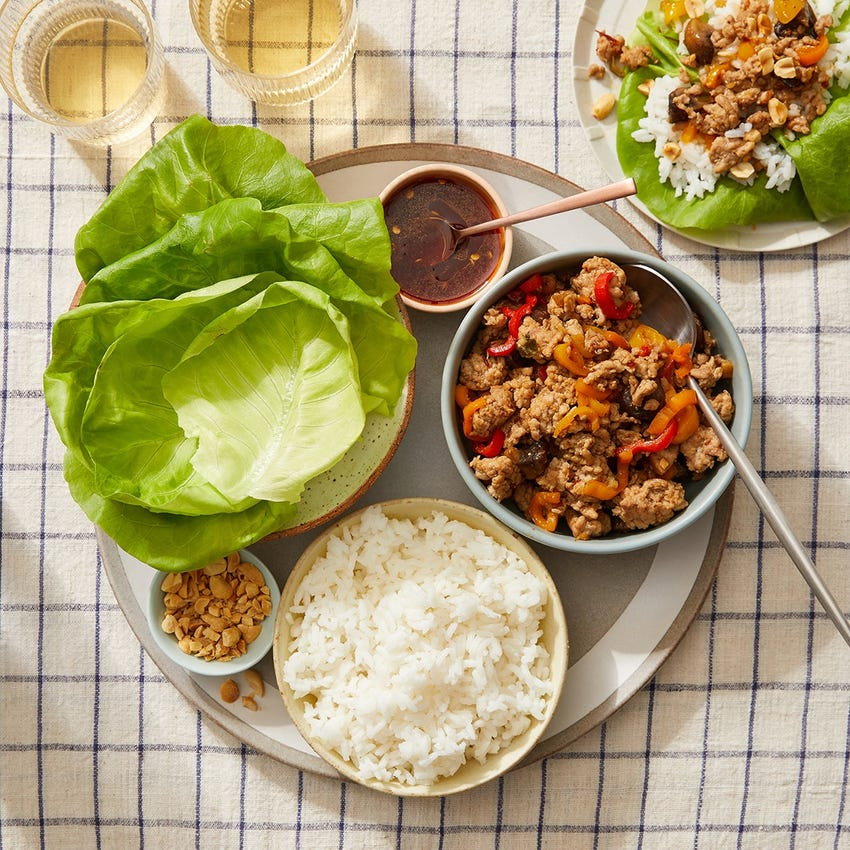 Honey-Sambal Turkey Lettuce Cups with Sweet Peppers & Mushrooms