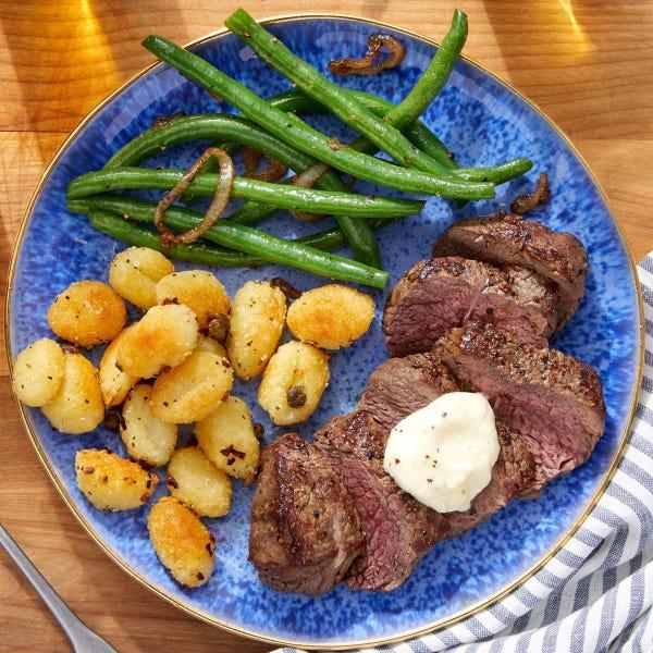 Seared Steaks & Aioli with Crispy Gnocchi & Sautéed Green Beans