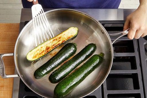 Sear the zucchini: