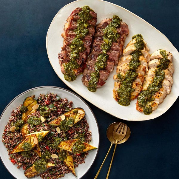 Seared NY Strip Steaks & Chicken with Chimichurri & Quinoa-Vegetable Salad