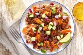 Lime & Fig Chicken with Creamy Vegetable Farro
