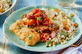 Cod & Fairy Tale Eggplants with Tomatoes & Pearl Couscous