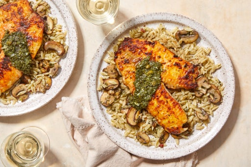 Seared Tilapia & Orzo Pasta with Mushrooms & Salsa Verde