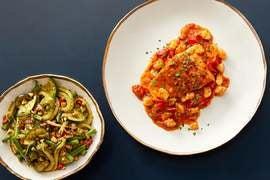 Salmon & Shrimp in Calabrian-Tomato Sauce with Sautéed Vegetables & Basil Pesto